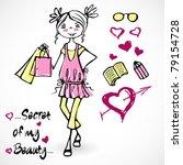 spring summer cute sweet trend...   Shutterstock .eps vector #79154728