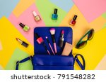 things from open lady purse.... | Shutterstock . vector #791548282