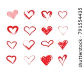 vector grunge hearts set ... | Shutterstock .eps vector #791554435