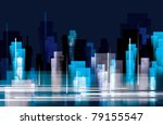 city landscape at night | Shutterstock .eps vector #79155547