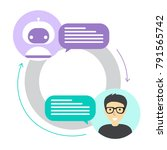 chatbot concept. man chatting... | Shutterstock .eps vector #791565742