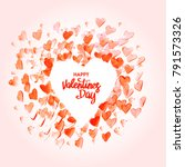 watercolor happy valentine's... | Shutterstock .eps vector #791573326