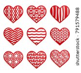 red hearts with patterns on the ... | Shutterstock .eps vector #791579488