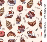 pattern with of text  cakes ... | Shutterstock .eps vector #791582722