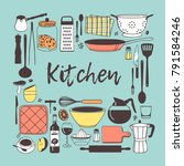 hand drawn illustration cooking ... | Shutterstock .eps vector #791584246