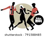 we are mods. silhouettes of two ... | Shutterstock .eps vector #791588485