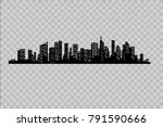 silhouette of the city in a... | Shutterstock .eps vector #791590666
