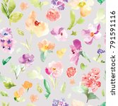 colorful watercolor floral... | Shutterstock . vector #791591116