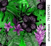 watercolor seamless pattern... | Shutterstock . vector #791597092