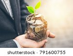 businessman cover growing plant ... | Shutterstock . vector #791600755