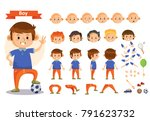 boy playing sport and toys... | Shutterstock .eps vector #791623732