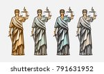 lawsuit  judge symbol. lady... | Shutterstock .eps vector #791631952