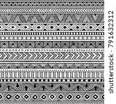 seamless ethnic pattern. black... | Shutterstock .eps vector #791632312