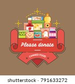 food drive canned food charity... | Shutterstock .eps vector #791633272
