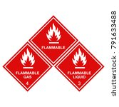 Flammable Sign Icons Set ...