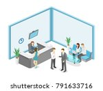 isometric interior of reception.... | Shutterstock . vector #791633716