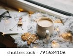 cup of coffee with cookies... | Shutterstock . vector #791634106