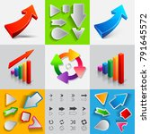 set of ascending arrows icons... | Shutterstock .eps vector #791645572
