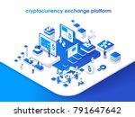 Cryptocurrency and blockchain isometric composition with people, analysts and managers working on crypto start up. Isometric vector illustration. | Shutterstock vector #791647642
