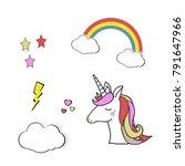unicorn vector icon isolated on ... | Shutterstock .eps vector #791647966