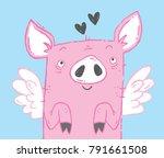 cute flying pig illustration.... | Shutterstock .eps vector #791661508
