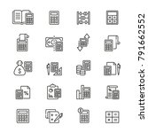 calculation related icons  thin ... | Shutterstock .eps vector #791662552