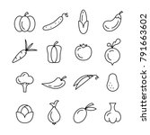 vegetables vector icons | Shutterstock .eps vector #791663602