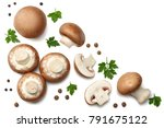 fresh champignon mushrooms...   Shutterstock . vector #791675122
