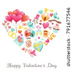 cute valentine's day greeting... | Shutterstock .eps vector #791677546