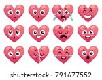 collection of funny heart... | Shutterstock .eps vector #791677552