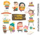 set of cartoon children reading ... | Shutterstock .eps vector #791683846