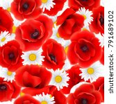 seamless pattern with poppies... | Shutterstock .eps vector #791689102