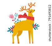 christmas reindeer in flowers | Shutterstock .eps vector #791693812