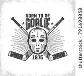 vintage hockey emblem with...   Shutterstock .eps vector #791698858