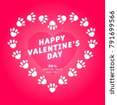 dog heart of paw valentine's... | Shutterstock .eps vector #791699566