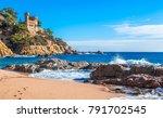 costa brava  spain. castle on... | Shutterstock . vector #791702545