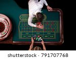 man croupier and woman playing... | Shutterstock . vector #791707768