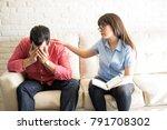 concerned female psychologist... | Shutterstock . vector #791708302