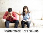 psychotherapist supporting... | Shutterstock . vector #791708305