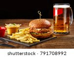 tasty burger  french fries with ... | Shutterstock . vector #791708992