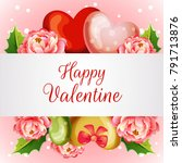 valentine card with blossom... | Shutterstock .eps vector #791713876