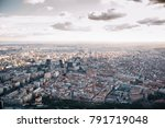 madrid skyline at sunset with... | Shutterstock . vector #791719048