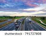 sunrise at m1 motorway with... | Shutterstock . vector #791727808
