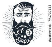 illustration with bearded man... | Shutterstock .eps vector #791737855