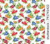 seamless watercolor pattern ... | Shutterstock . vector #791741422