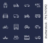 set of 16 traffic outline icons ... | Shutterstock .eps vector #791747092