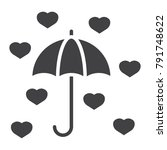 love umbrella glyph icon ... | Shutterstock .eps vector #791748622