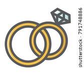 wedding rings filled outline...   Shutterstock .eps vector #791748886