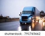 modern big rig blue semi truck...   Shutterstock . vector #791765662