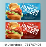 epic burger party flyers concept | Shutterstock .eps vector #791767405